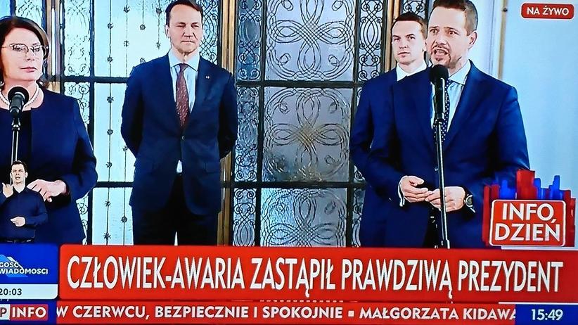"""""""Paskowy TVP"""" w swoim żywiole: """"Człowiek-awaria zastąpił prawdziwą prezydent"""""""