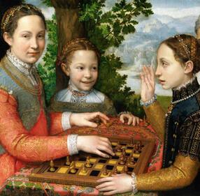 Muzeum Czartoryskich/PD#Zofia, Anna i Katarzyna#Dziewczynki graju0105ce w szachy pu0119dzla Sofonisby Anguissoli|north