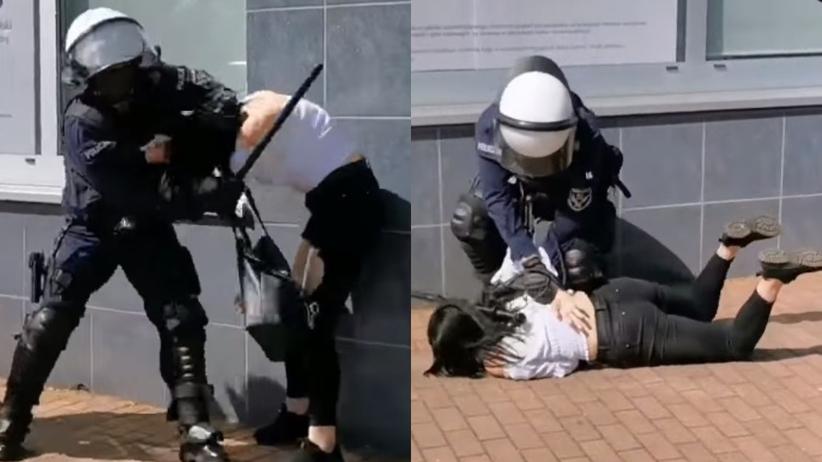 Głogów. Policjant uderzył i powalił kobietę na ziemię