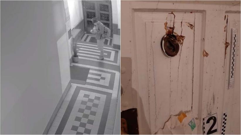 Zniszczenie drzwi PiS w Krakowie