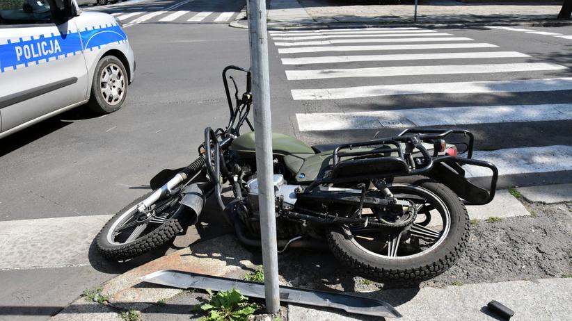 Łódź wypadek motocyklisty