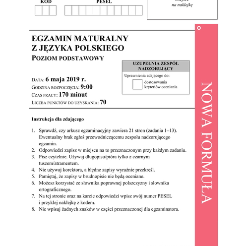 Matura z polskiego 2019 - odpowiedzi, rozwiązania zadań