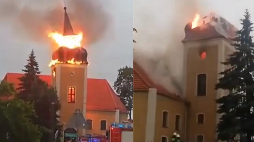 Piorun uderzył w kościół we wsi Frednowy w woj. warmińsko-mazurskim [radar burz]