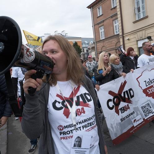 protst antycovidowców w Warszawie