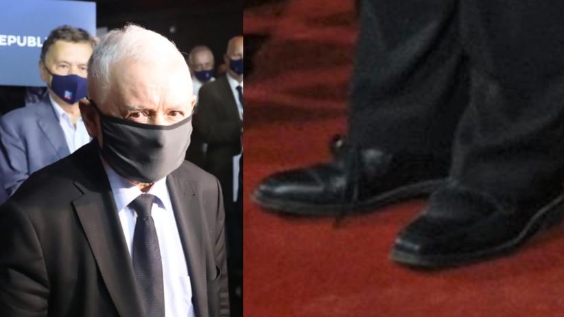 Kaczyński w dwóch różnych butach