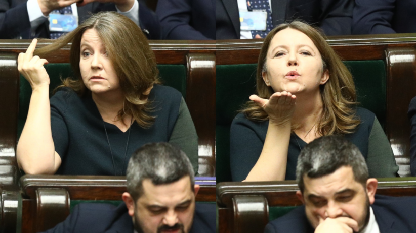 Posłanka Lichocka w Sejmie pokazała środkowy palec. Teraz przeprasza i atakuje opozycję