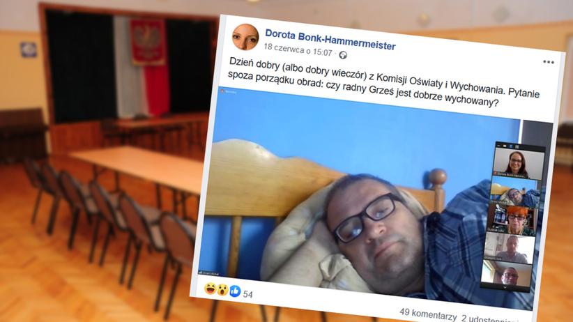 radny PiS Michał Grześ na posiedzeniu komisji