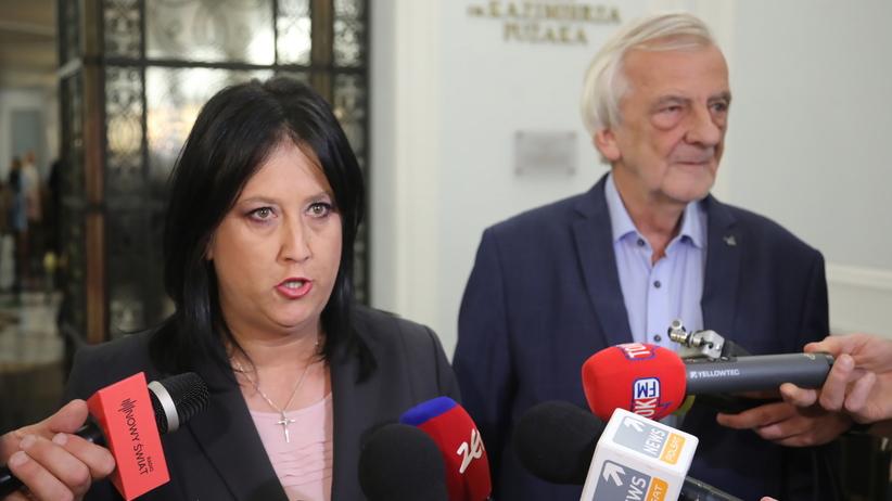 Wicemarszałek Sejmu Ryszard Terlecki oraz rzecznik prasowy PiS Anita Czerwińska