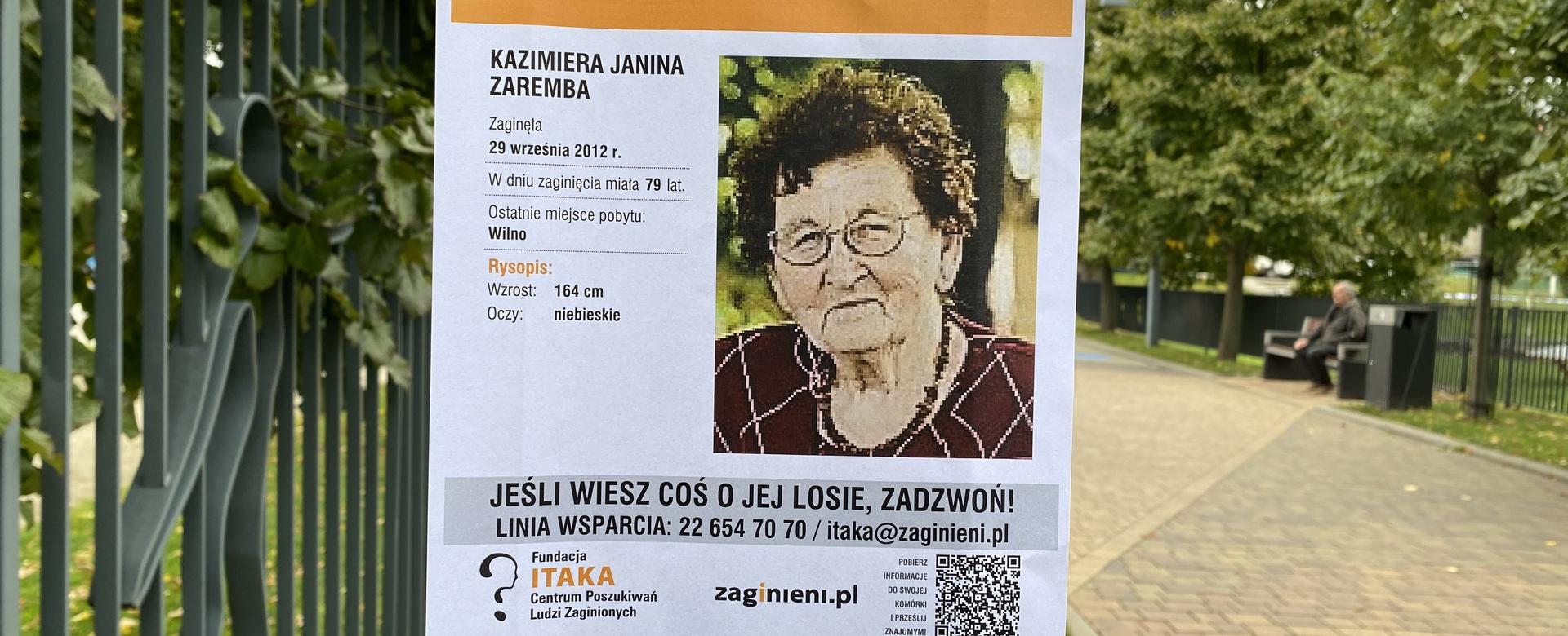 Plakat informujący o zaginięciu Kazimiery Zaremby