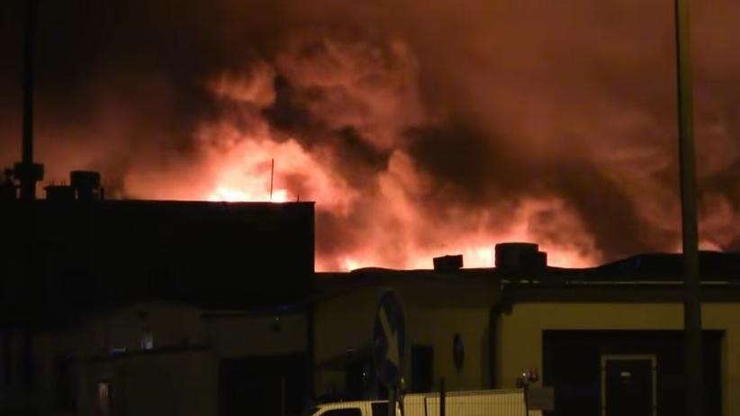 Pożar hali w Turku