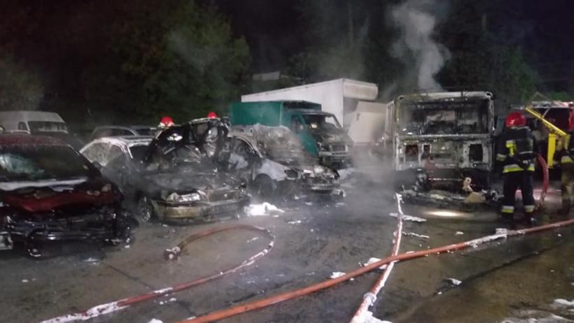 Pożar w Gorzowie Wlkp. Miotaczem ognia podpalił 18 samochodów na parkinguv