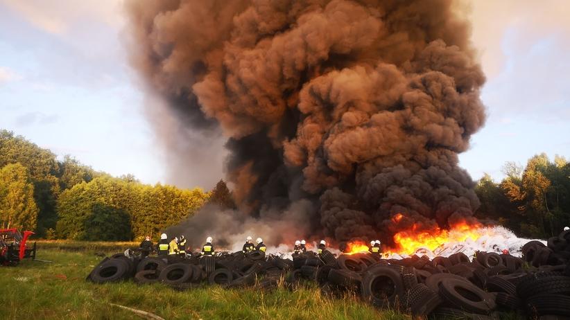 Pożar w Wojcieszycach. Płonęła wielka hałda opon