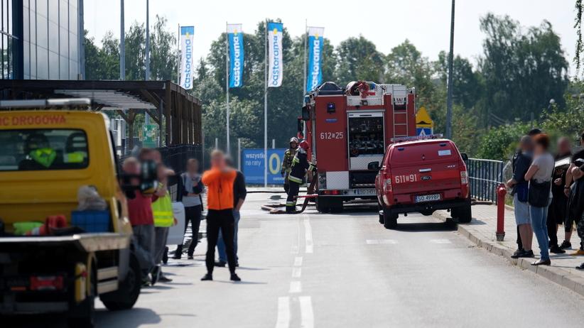 Wybuch na parkingu przed Castoramą w Sosnowcu