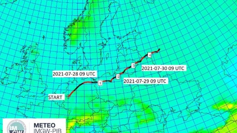 Prognozowany kierunek i czas przemieszczania się strefy zanieczyszczenia z Leverkusen