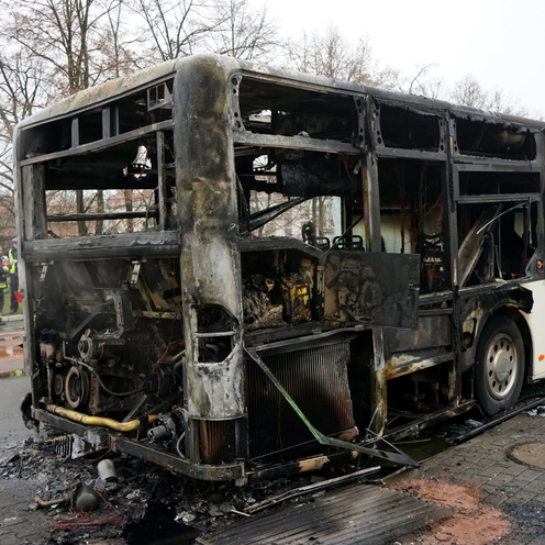 Pożar miejskiego autobusu w Szczecinie
