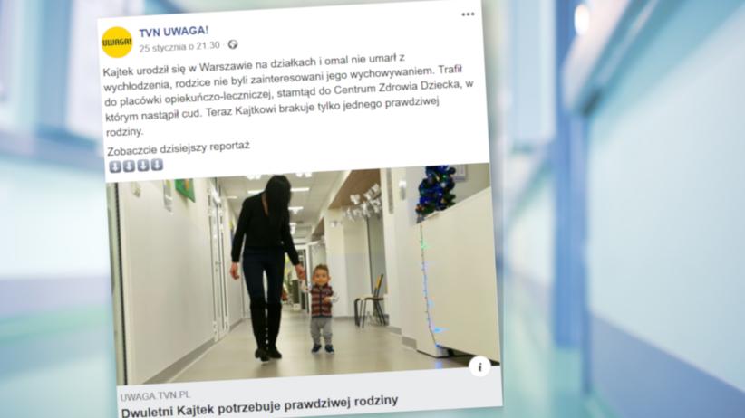 Matka porzuciła go na ogródkach działkowych w Warszawie. 2-letni Kajtek poszukuje prawdziwej rodziny rodziny