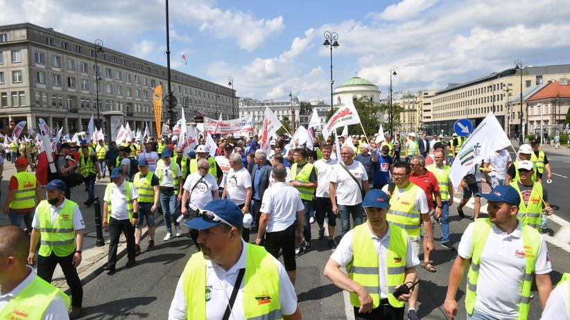 Protesty energetyków i górników w Warszawie