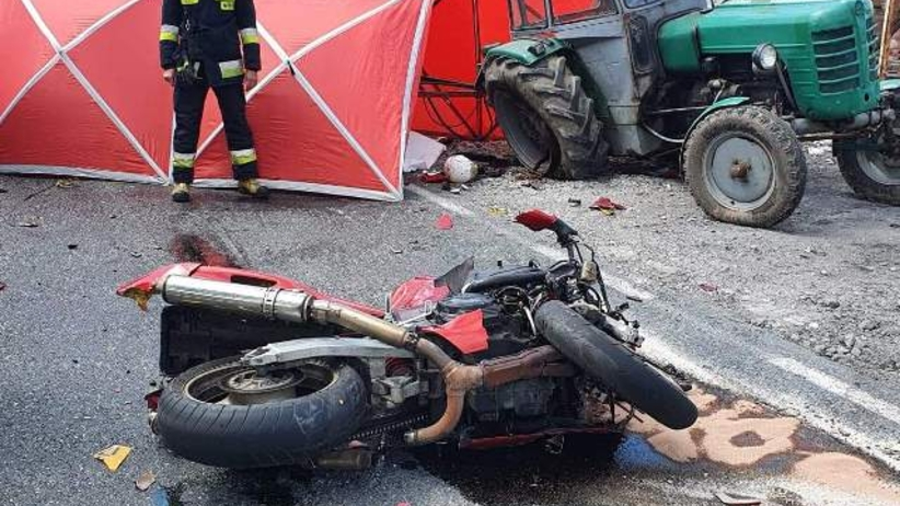 wypadek motocyklisty k. Konina