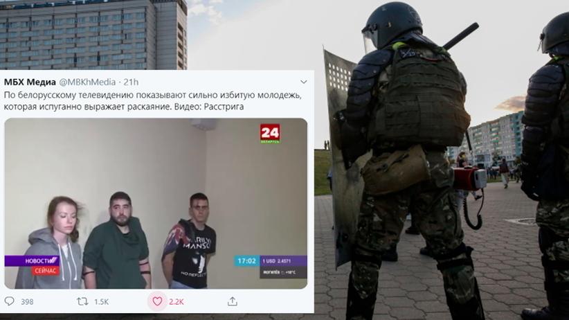 protestujący Białorusini