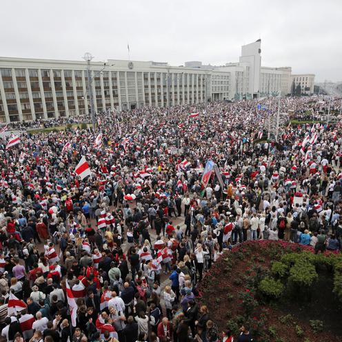 Protest w Mińsku na Białorusi
