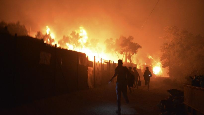 Pożar w obozie dla uchodźców Moria na Lesbos