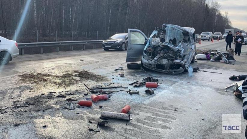 Wypadek w obwodzie moskiewskim. Sześć osób zginęło w zderzeniu busa z ciężarówką