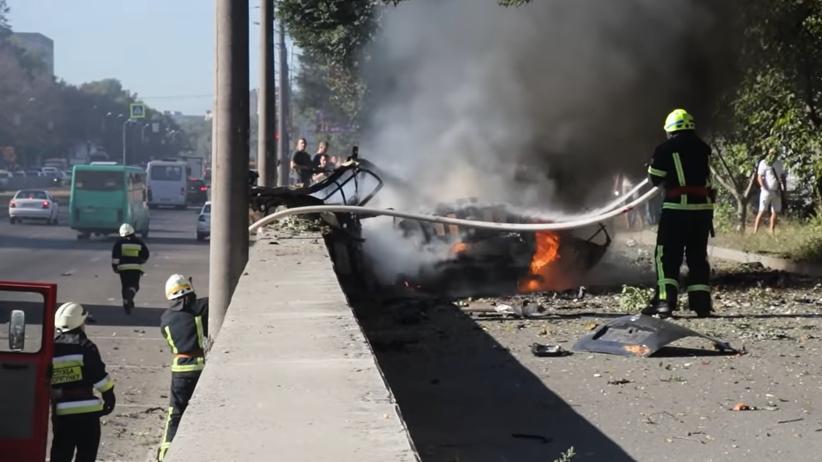 Wybuch samochodów w mieście Dniepr